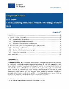 Commercialising Intellectual Property: knowledge transfertools