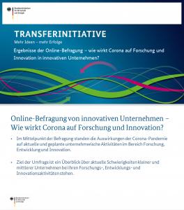 Ergebnisse der Online-Befragung – wie wirkt Corona auf Forschung und Innovation in innovativen Unternehmen?