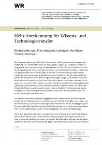 Mehr Anerkennung für Wissens- und Technologietransfer