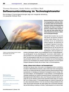 Softwareunterstützung im Technologietransfer