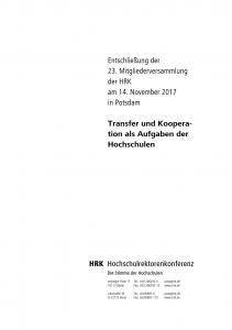 Transfer und Kooperation als Aufgaben der Hochschulen