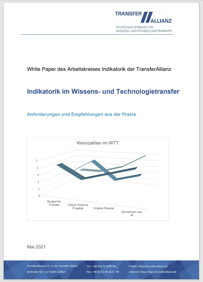 Indikatorik im Wissens- und Technologietransfer  – White Paper der TransferAllianz